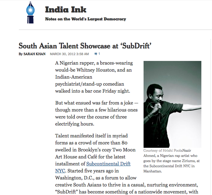 New York Times: South Asian Talent Showcase at SubDrift