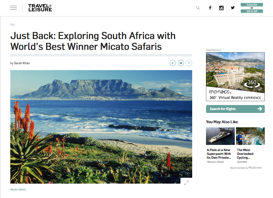 Travel + Leisure:  Just Back — Exploring South Africa with World's Best Winner Micato Safaris