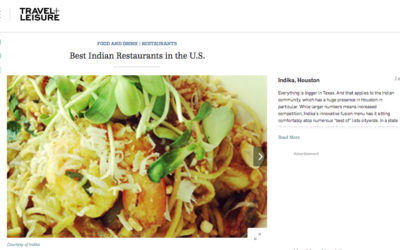 Travel + Leisure: Best Indian Restaurants in the U.S.