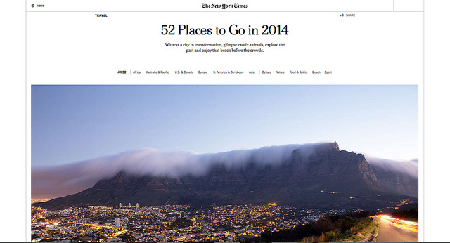 New York Times: 52 Places to Go in 2014