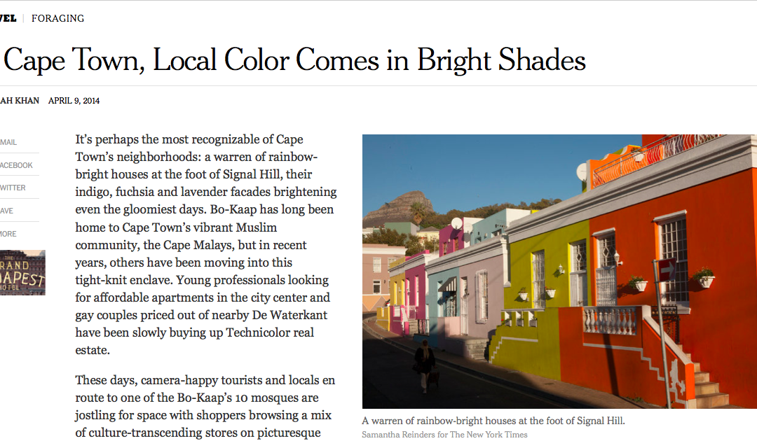 New York Times: In Cape Town, Local Color Comes in Bright Shades