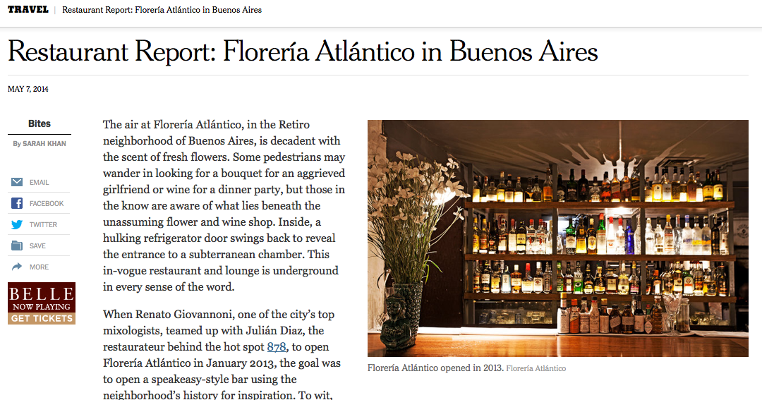 New York Times: Speakeasy, Latin Style