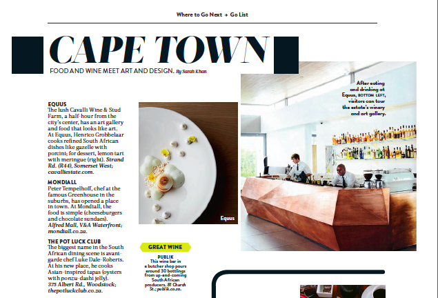 Food & Wine: Go List – Cape Town