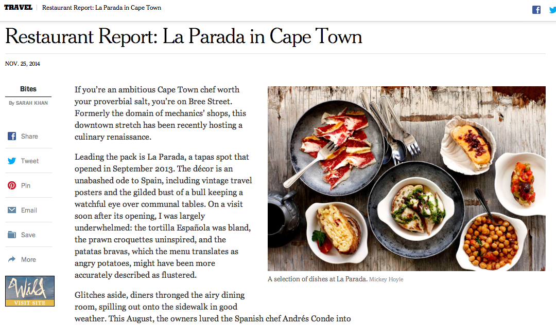 New York Times: Restaurant Report – La Parada in Cape Town