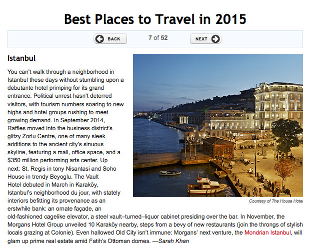 Travel + Leisure: Best Places to Travel in 2015