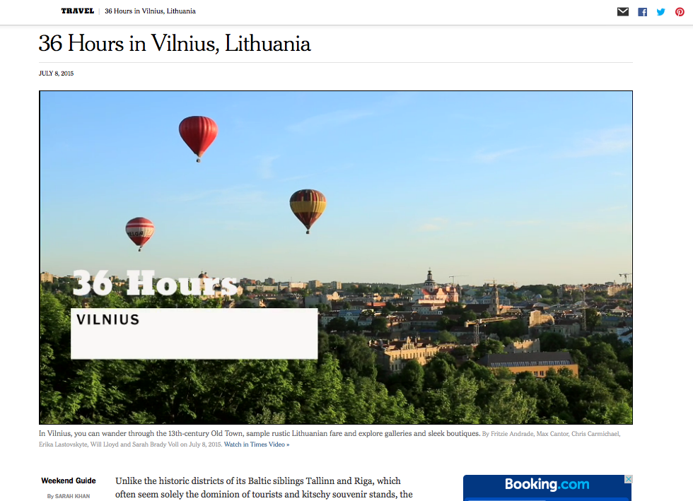 New York Times: 36 Hours in Vilnius, Lithuania