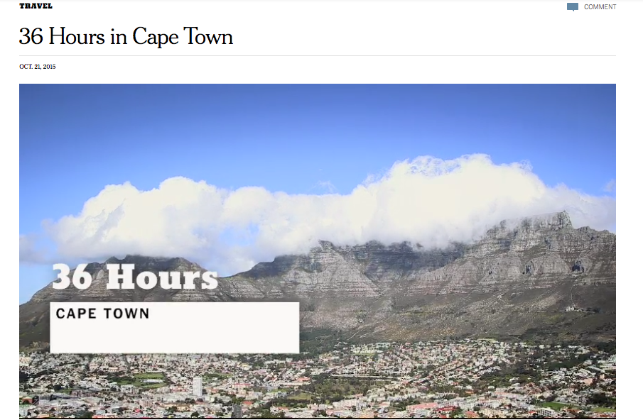 New York Times: 36 Hours in Cape Town