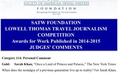 Society of American Travel Writers Gold Award