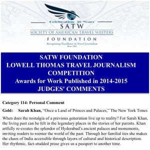 SATW Lowell Thomas Award