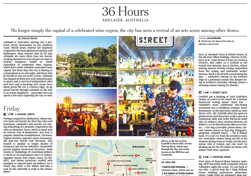 New York Times: 36 Hours in Adelaide