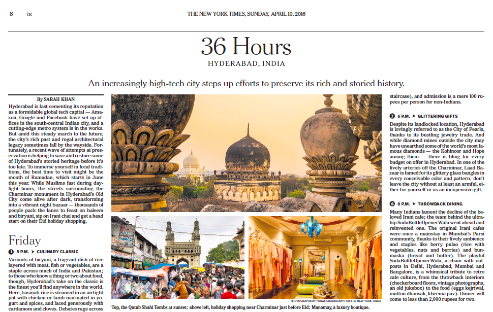 New York Times: 36 Hours in Hyderabad