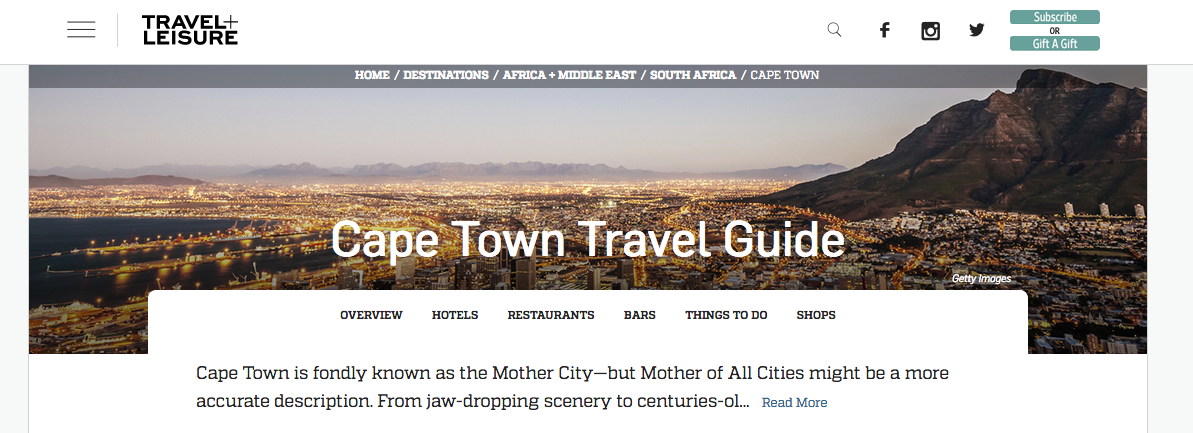 Travel + Leisure: Cape Town Travel Guide