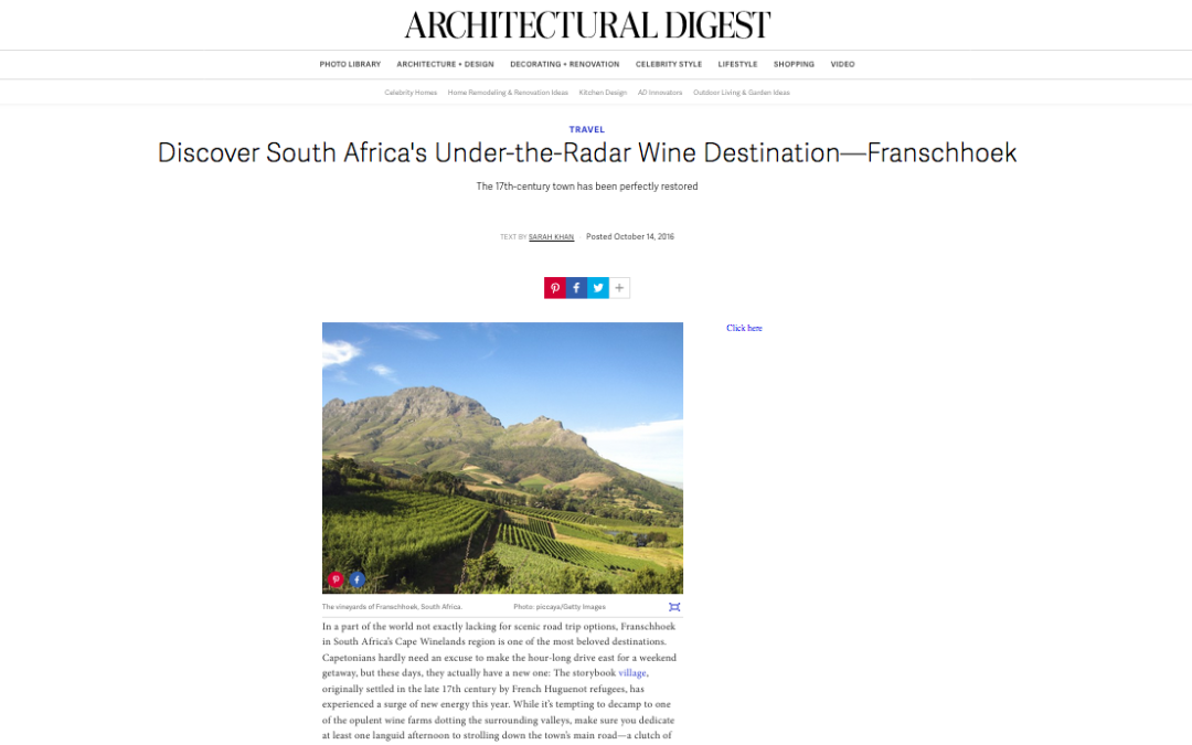 Architectural Digest: Under-the-Radar Wine Destination – Franschhoek