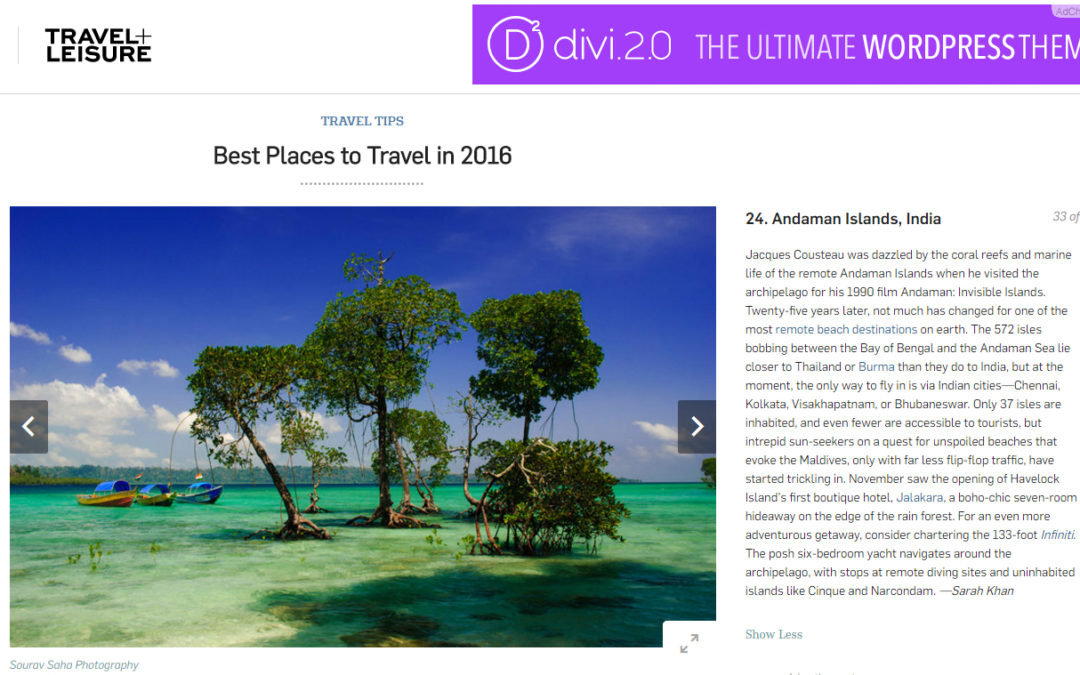Travel + Leisure: Best Places to Travel in 2016