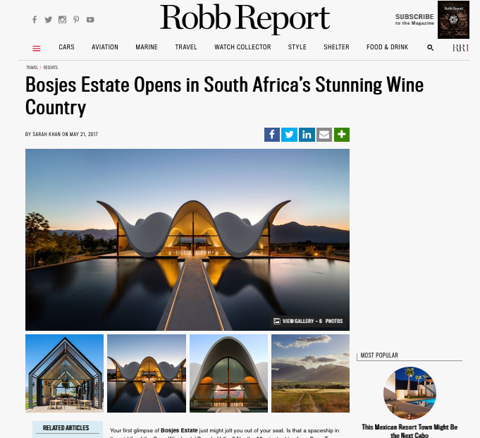 Robb Report: Bosjes Estate Opens in South Africa's Stunning Wine Country