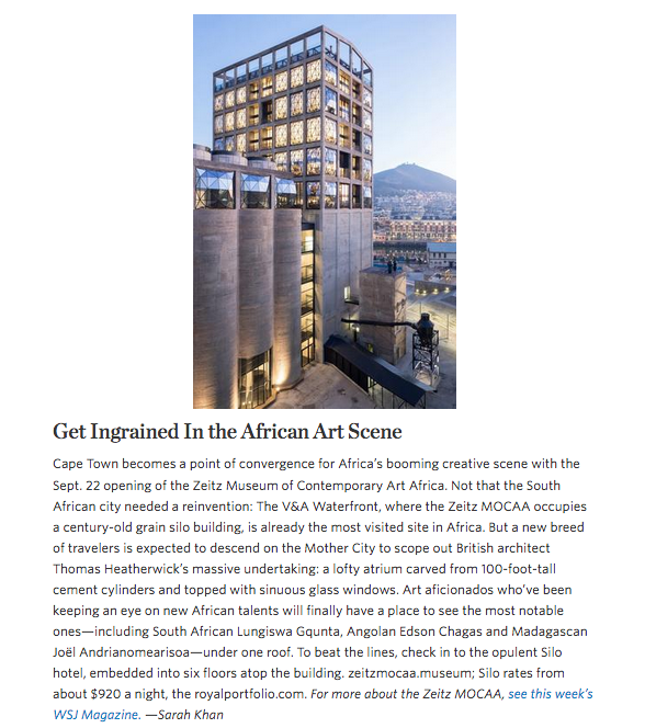Wall Street Journal: Get Ingrained in the African Art Scene