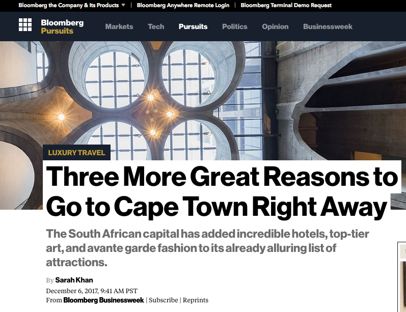 Bloomberg: Go Here Now – Cape Town