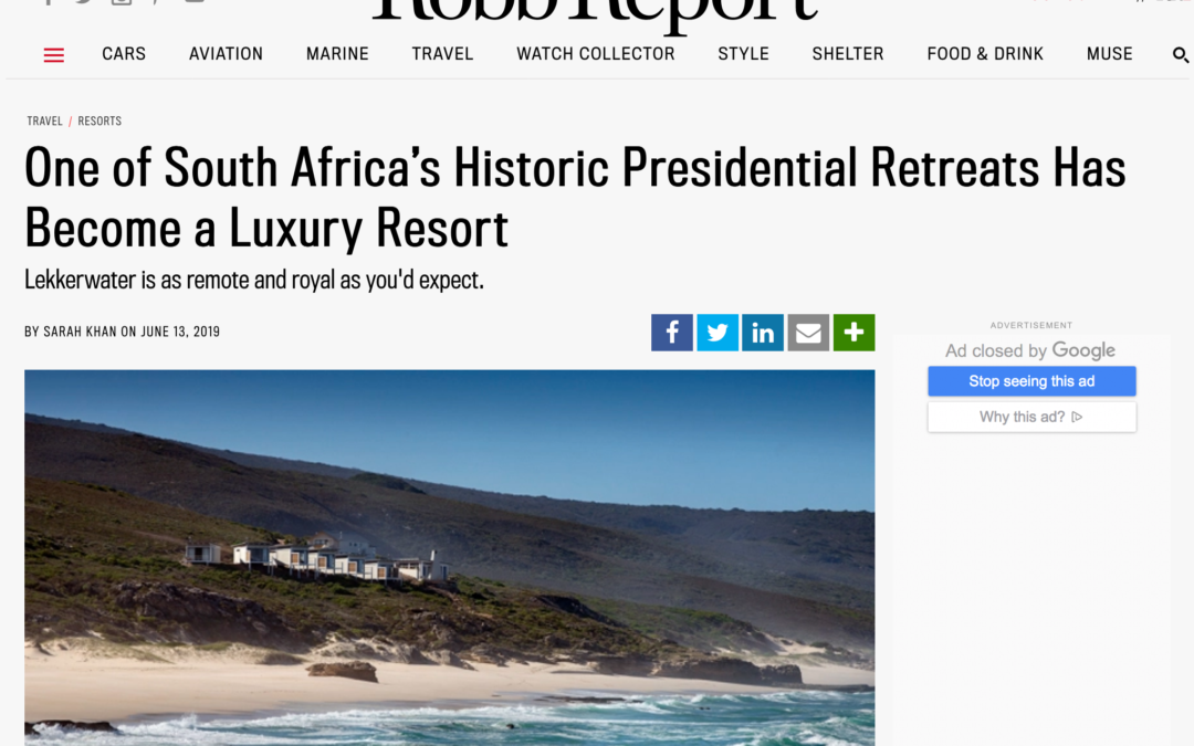 Robb Report: One of South Africa's Historic Presidential Retreats Has Become a Luxury Resort